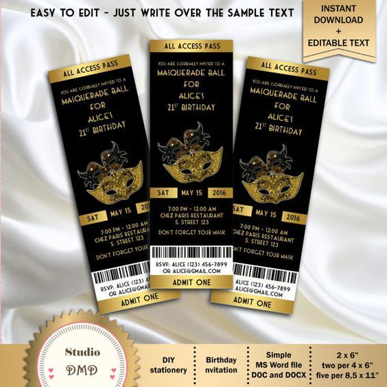 "Masquerade Party Birthday Invitation Ticket Style, Black and Gold - DOWNLOAD Instantly - EDITABLE TEXT - Microsoft Word Format - (2"" x 6"")"