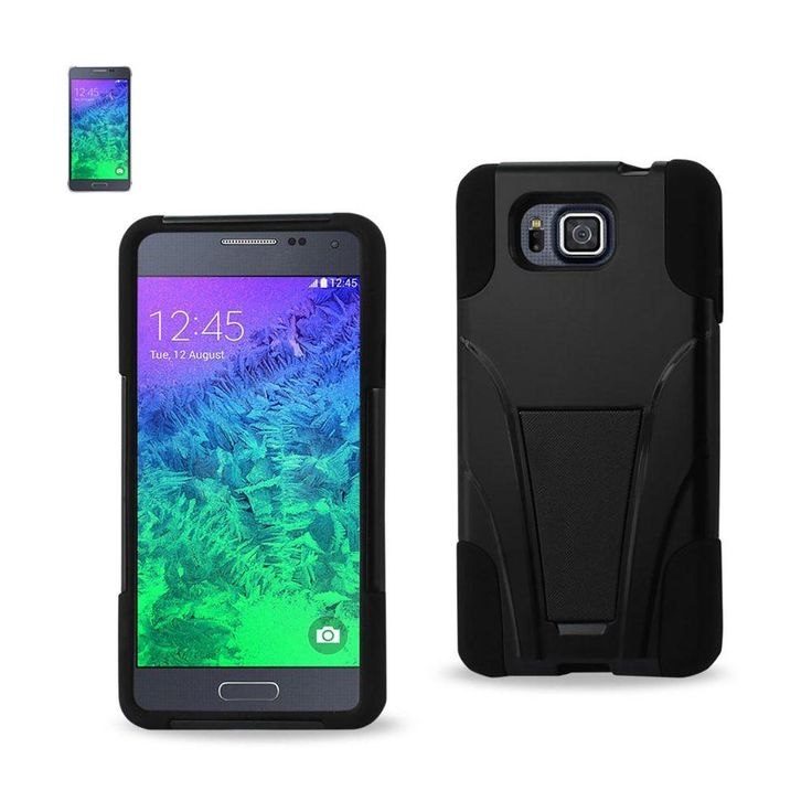Reiko Silicon Case+Protector Cover Samsung Galaxy Alpha Sm-G850A/ G850F New Type Kickstand Black