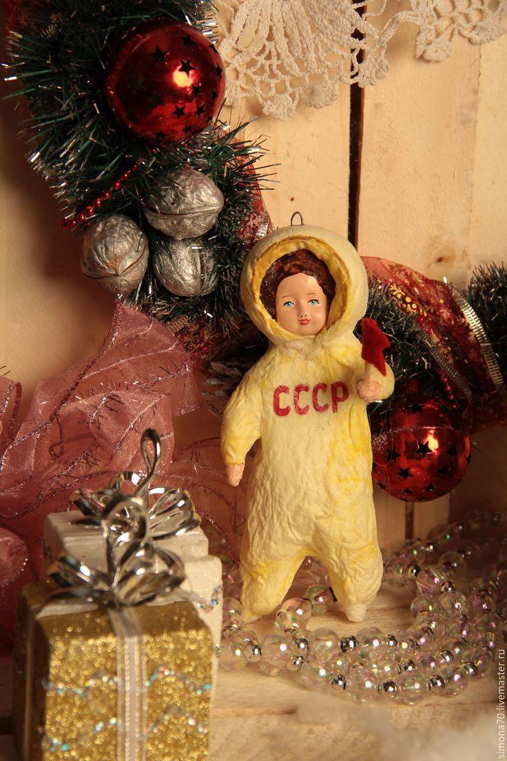 """Купить Ватная игрушка """"Космонавт """" - желтый, космонавт, ватная игрушка, СССР, советские игрушки"""