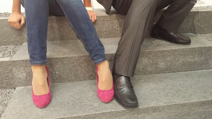Pink and black #shoes on Dual Step at #Cersaie