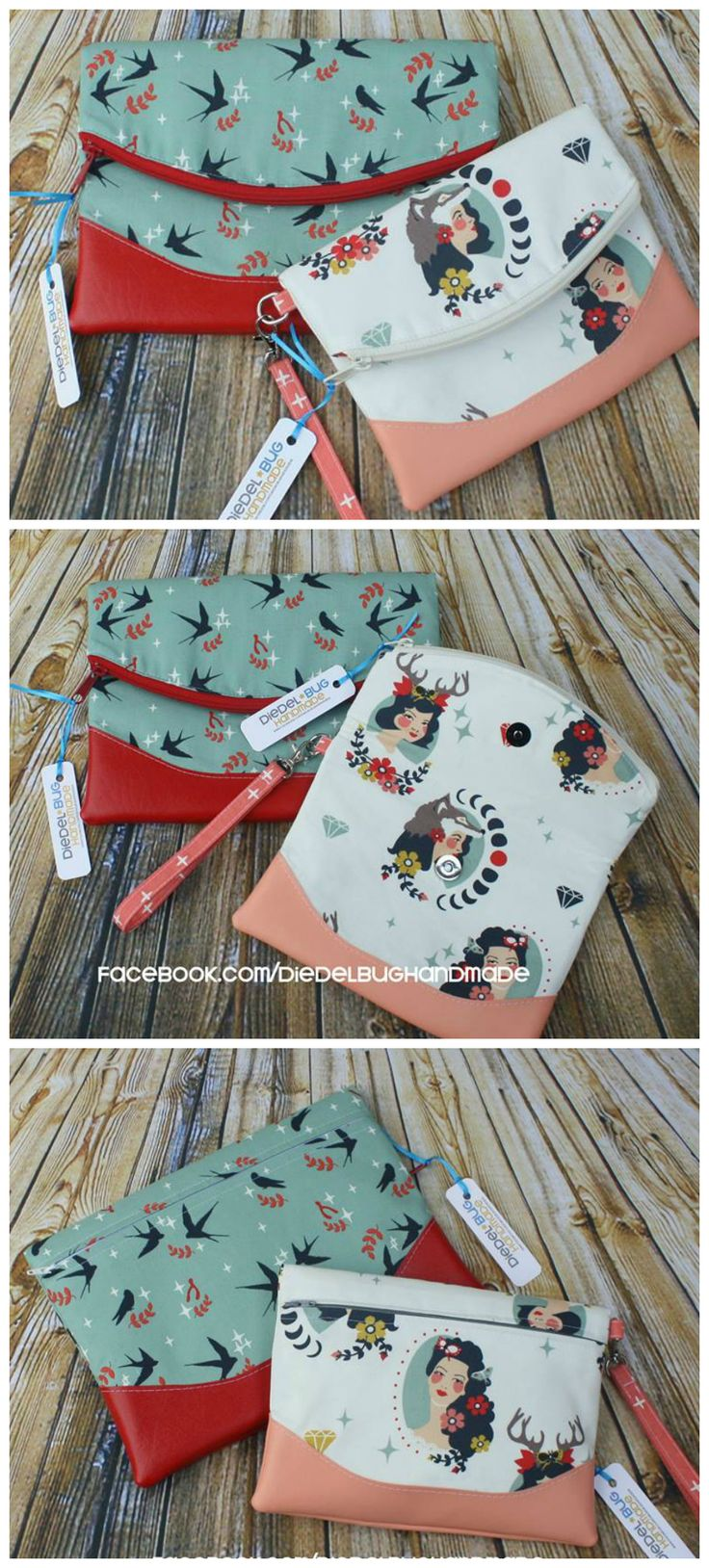Free foldover clutch purse sewing pattern. The Heidi bag from Swoon patterns. Photos by Erin Morris