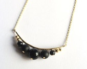 14k gold plated necklace with onyx beads, unique and speaciel necklace