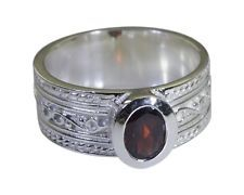 foxy Garnet 925 sterling silver Red Ring indian L-1.2in US 5678 Sz 6.5