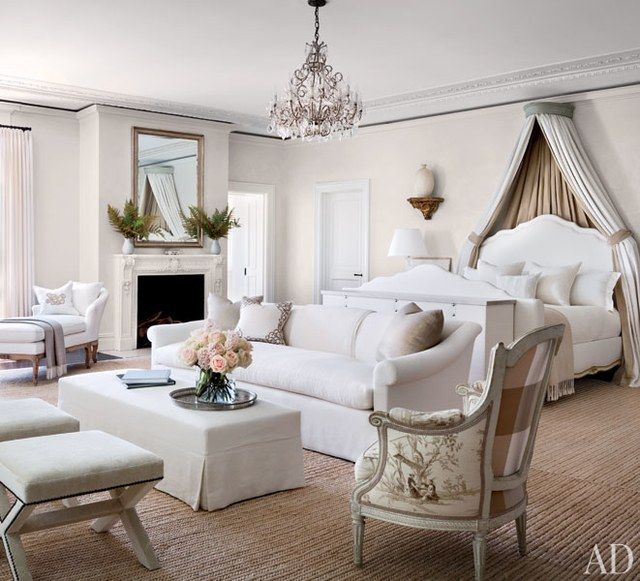 In the master suite, an 18th-century Swedish corona from Dienst + Dotter Antikviteter complements the Ralph Lauren Home bed and linen   archdigest.com