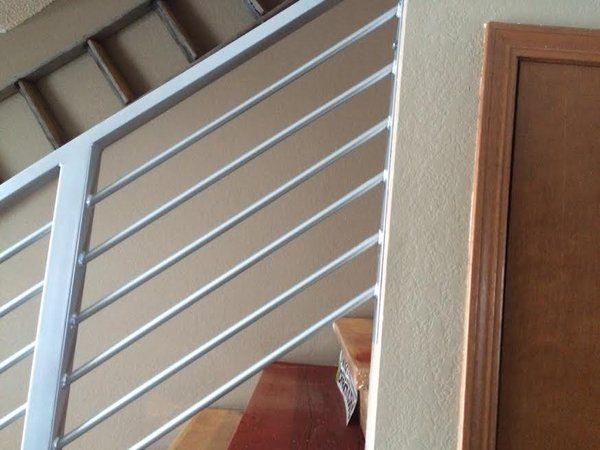 Custom Silver Interior Stair Railing Fabricated And