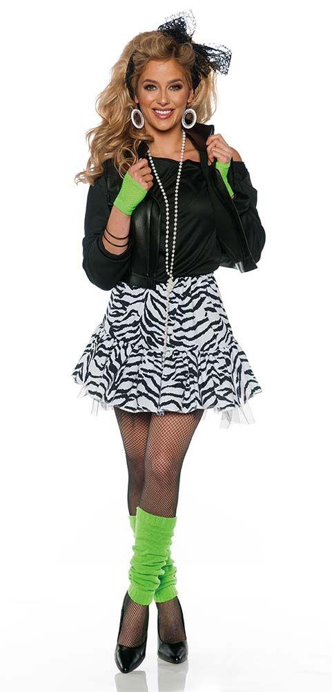 51c7233264b Women s Black White Rockin  the 80s Costume - Candy Apple Costumes -  Women s 80s Costumes