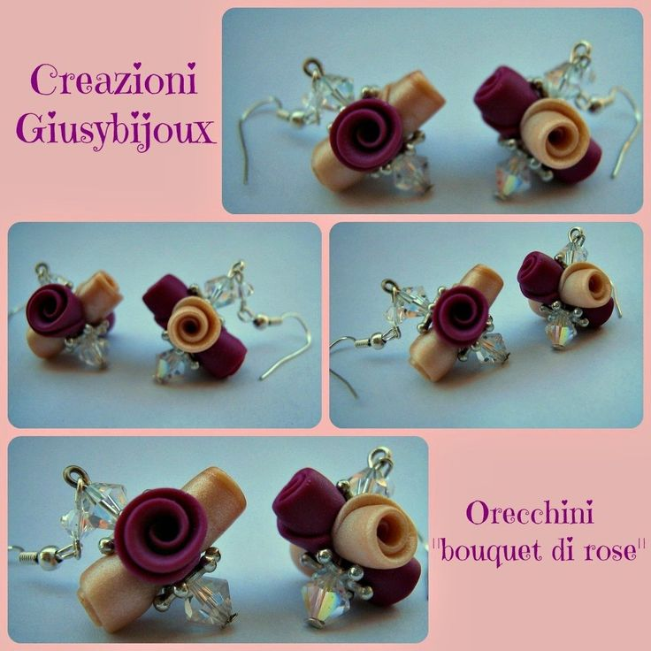 Orecchini pendenti swarovski con Bouquet di roselline in fimo fuxia e rosa fatto a mano, by Creazioni Giusybijoux, 18,00  su misshobby.com