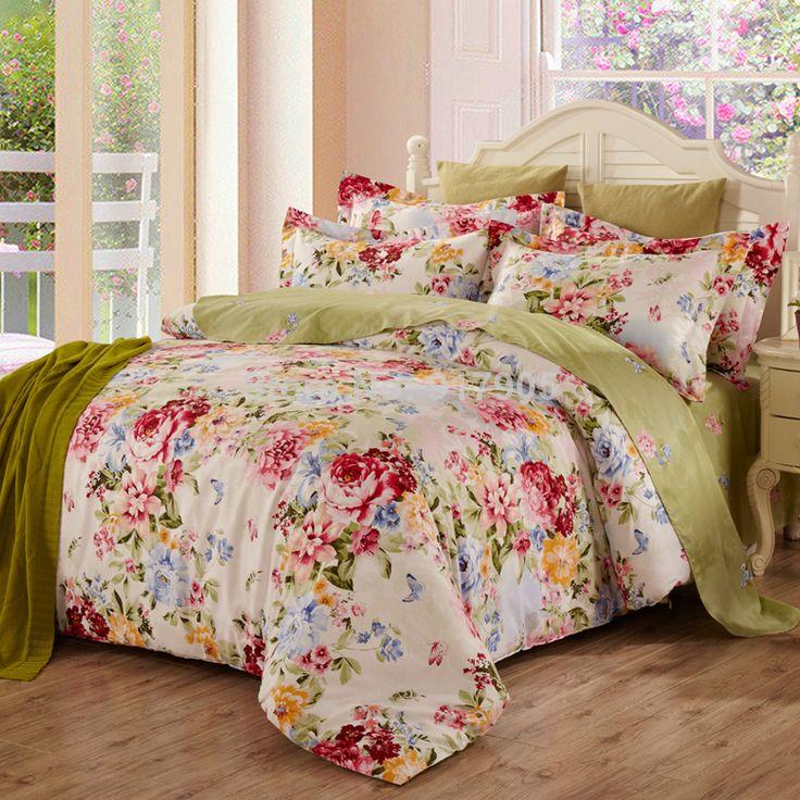 new cotton satin duvet cover set romantic rustic vintage floral bedding set 4pcs queen size