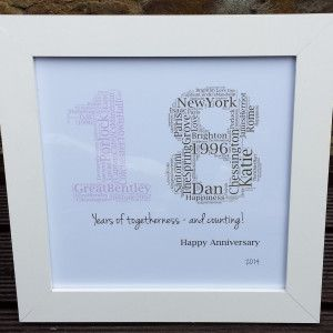 '18 Years Together as one' personalised wedding anniversary gifts
