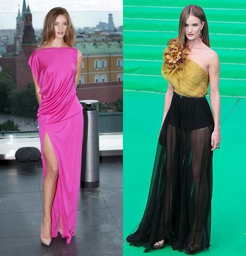 Прозрачное длинное платье с высоким разрезом