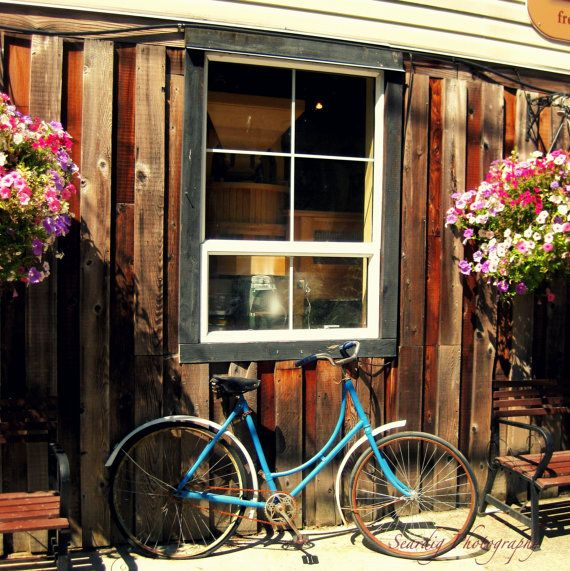 vintage bicycle and window photograph print travel