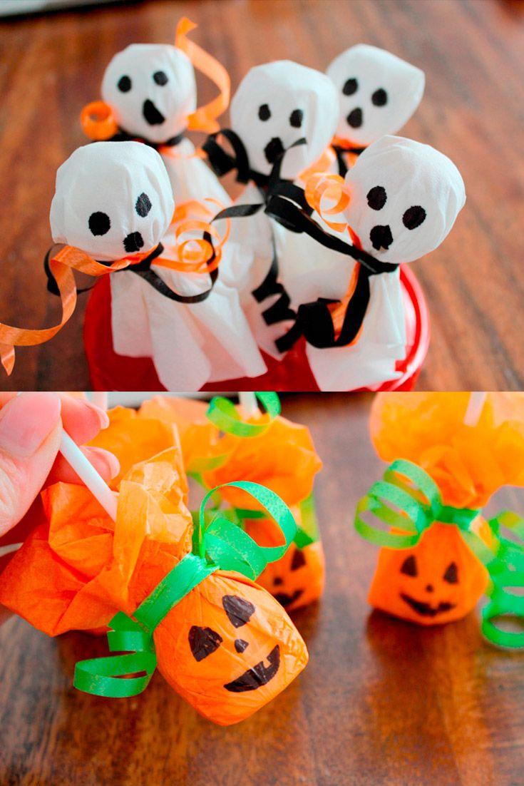 Halloween Süßigkeiten DIY - Geister & Kürbisse aus Lutschern - eine süß, schaurige Überraschung und ganz einfach zu basteln. via @myhappyblog
