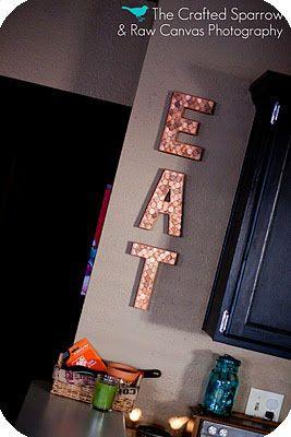 "embellishing-with-pennies.jpg 267×400 pixels Make the word ""ART"""