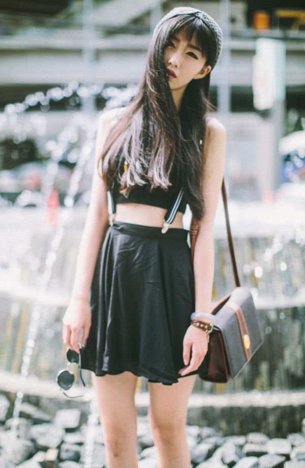 All black crop top and leather circle skirt for Summer.