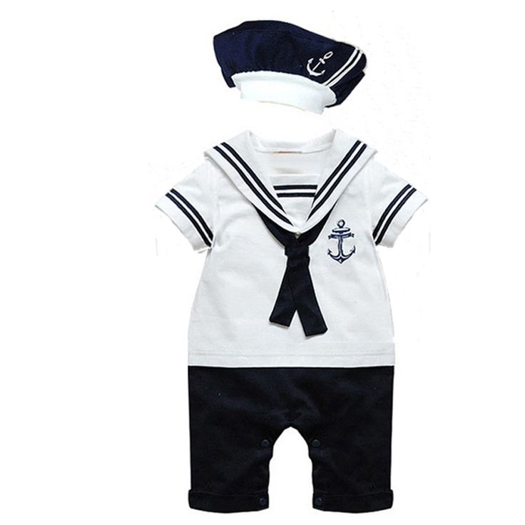 2017 Ropa de Verano de Los Bebés Casual Navy Mamelucos + Sombrero Set Recién Nacido Trajes de Marinero de manga Corta Ropa de Los Cabritos(China (Mainland))