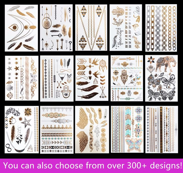 15pcs/lot Waterproof Flash Tattoo Non-toxic Temporary Tattoo Sticker Take These Metallic And Gold Jewelry Tattoo Home!