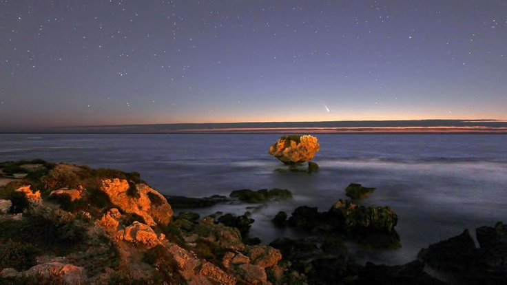 Astrophotographer Paul Storey sent in this photo of Comet Pan-STARRS setting over the Indian Ocean at Point Peron, West Australia. Image taken March 3, 2013.