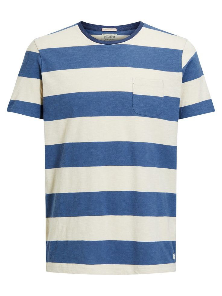 Vintage style, laidback wide striped t-shirt, white and blue with chest pocket | JACK & JONES