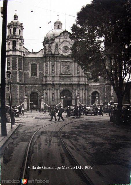 LA VILLA DE GUADALUPE, VISIBLEMENTE LAS VIAS DEL TRANVIA QUE VENIA DEL ZOCALO A LA VILLA, MEXICO, D.F. AÑO 1939