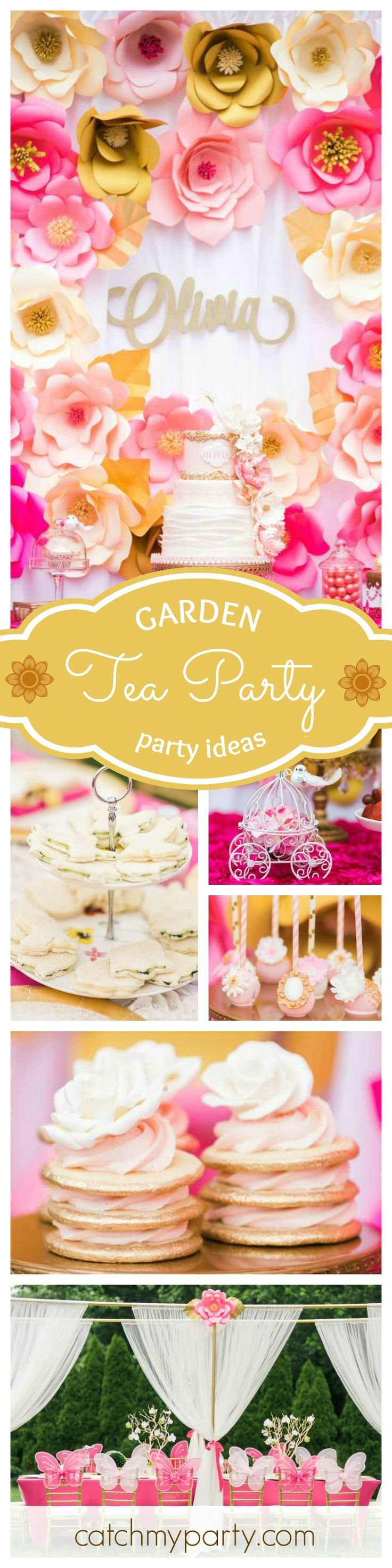 This Garden Tea Party Birthday is just so beautiful! The paper flower backdrop is gorgeous!! See more party ideas at CatchMyParty.com