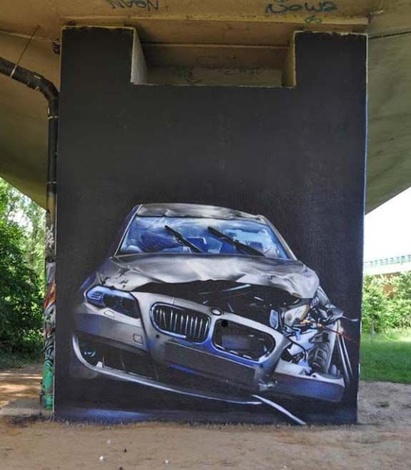Oh no!  Terrible subject for street art!  Street art in Belgium by Smates