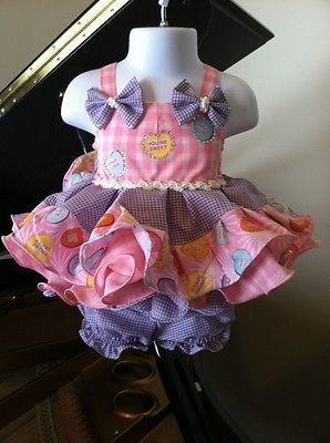 OOAK OOC Valentine's Day Baby Doll Pageant Dress Size 0-9 Mo+ Pink Purple Infant