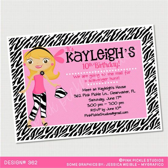 Zebra Teen Birthday Invitation or Thank You by PinkPickleParties, $10.00