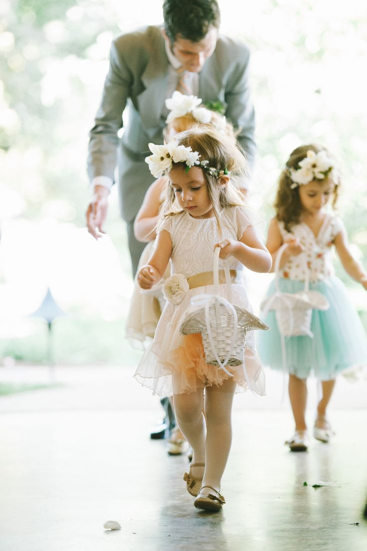 Cutest group of #flowergirls we ever did see! Photography: Michelle Lyerly - www.michellelyerly.com  Read More: http://www.stylemepretty.com/2014/05/22/pastel-spring-wedding-in-chapel-hill/