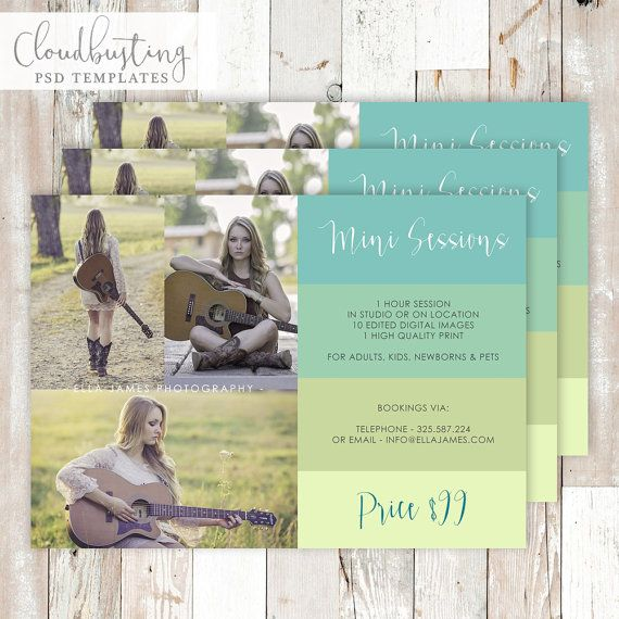 Photography Mini Session Card - Customizable Photoshop Template - https://www.etsy.com/listing/285372661