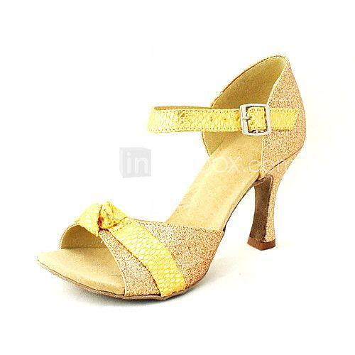 Chaussures de danse (Noir/Bleu/Rouge/Argent/Or) - Personnalisable - Talons personnalisés - Paillettes scintillantes/Autre - Danse latine - USD $29.99