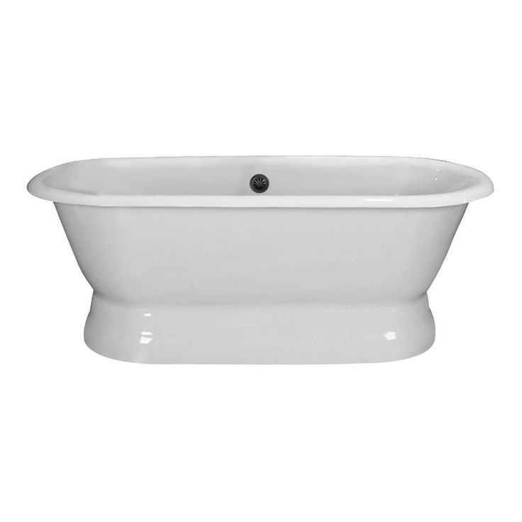 cromwell cast iron double roll top tub on base white woverflow rim holes