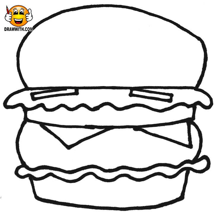 Free hamburger coloring page for kids which includes a color along video tutorial