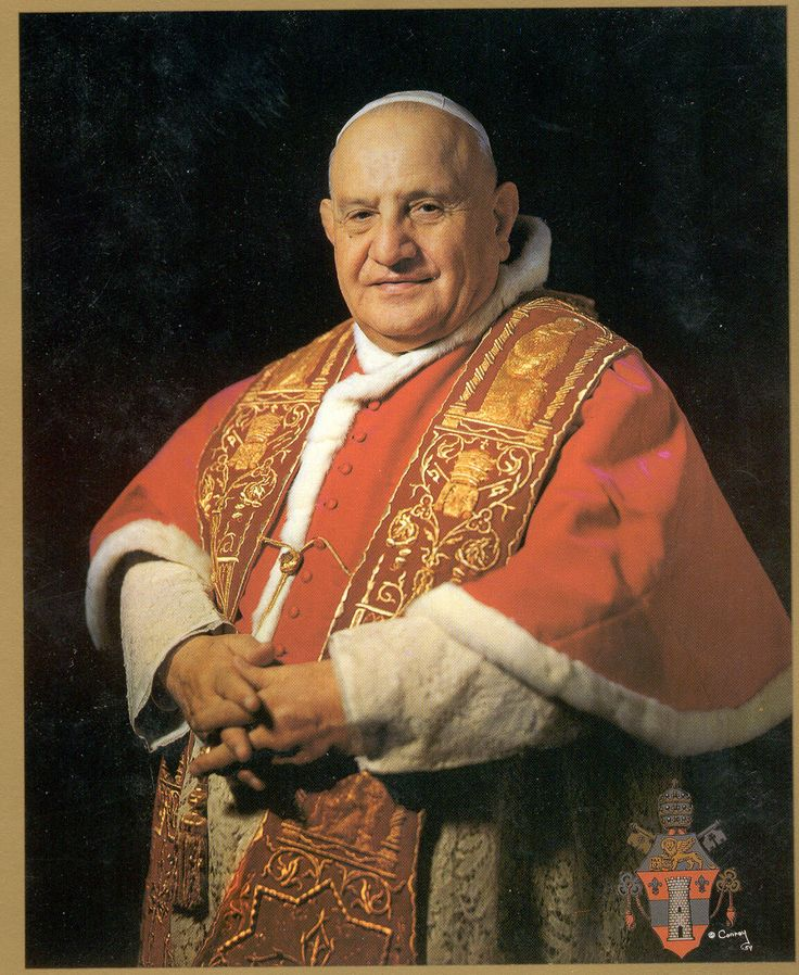Pope John XXIII - beloved, gentle pontiff who convened The Second Vatican Council.  After so many years of the aristocratic, cold Pope Pius XII, this warm man who came from peasant stock made the Church much more human.