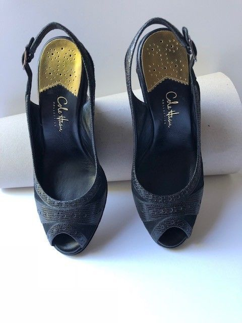 c488a0f044 Cole Haan Black Snakeskin Suede Leather Slingback Peep Toe Wedge Heels 7.5  B #fashion #clothing #shoes #accessories #womensshoes #heels (ebay link)