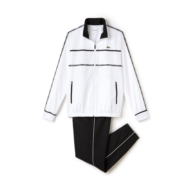 A contrasting neckline and decorative bands on the jacket and signature piping on the pants: this taffeta Lacoste Sport Tennis tracksuit is a must-have.