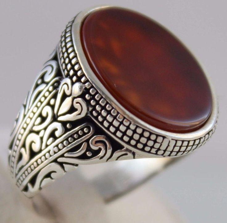 925 Sterling Silver Turkish Handmade Ottoman Statement Agate Men's Ring #Handmade #Statement