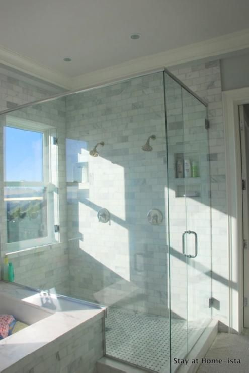 double shower seamless with window and personal hygiene cutouts! (needs seamless floor) Add teak moveable shower seat