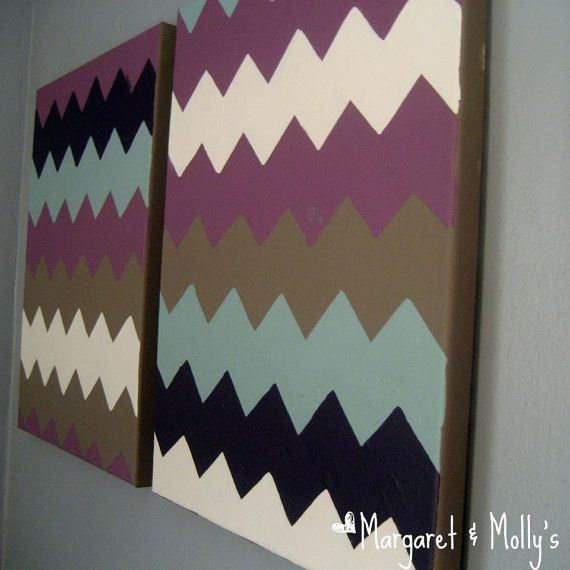 Coordinating Chevron Paintings on Canvas