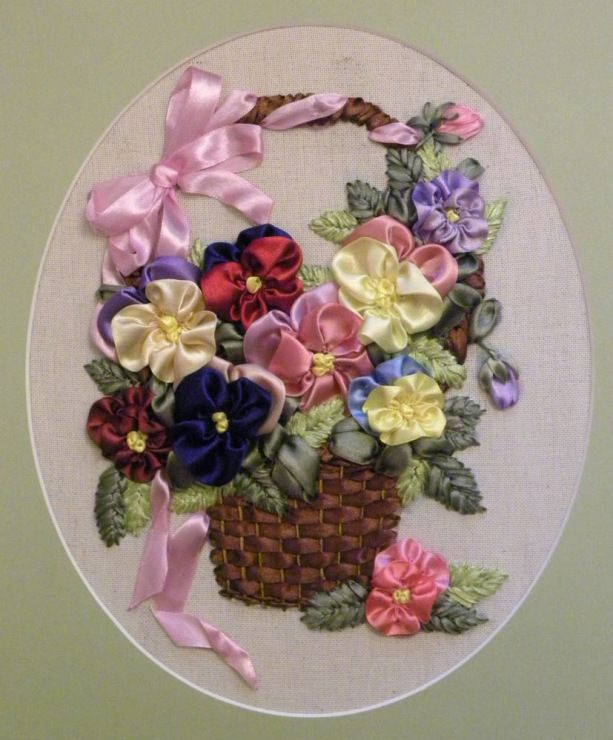 Ribbon Embroidery Flower Baskets : Pansies in a basket ribbonembroidery haft wst eczkowy