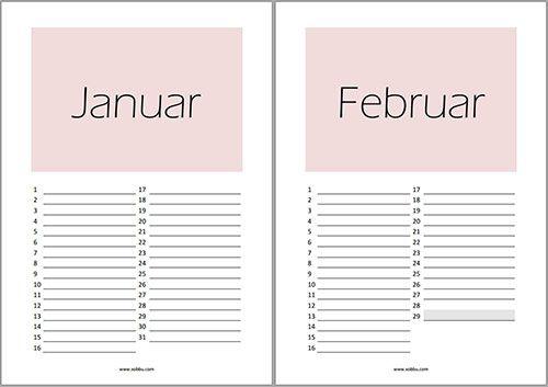 Birthday calender Filofax A5 oder Louis Vuitton GM, free printable