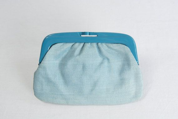 Vintage 1980s Candy Blue Clutch Bag Purse made in by madvintage