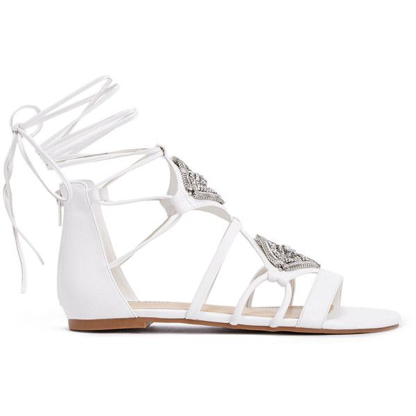 ShoeDazzle Flat Sandals Delaney Womens White ❤ liked on Polyvore featuring shoes, sandals, flat sandals, white, jeweled sandals, flat gladiator sandals, laced up gladiator sandals, white sandals and lace-up sandals