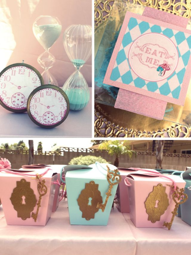 Alice in wonderland party decor key hole favor boxes for Alice in wonderland birthday decoration ideas