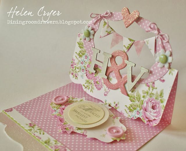 Sizzix Flying Easel New Baby Twins #Card by Helen Cryer