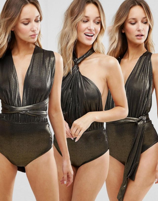 Goddiva Multiway Swimsuit - Black gold glitter From ASOS £28