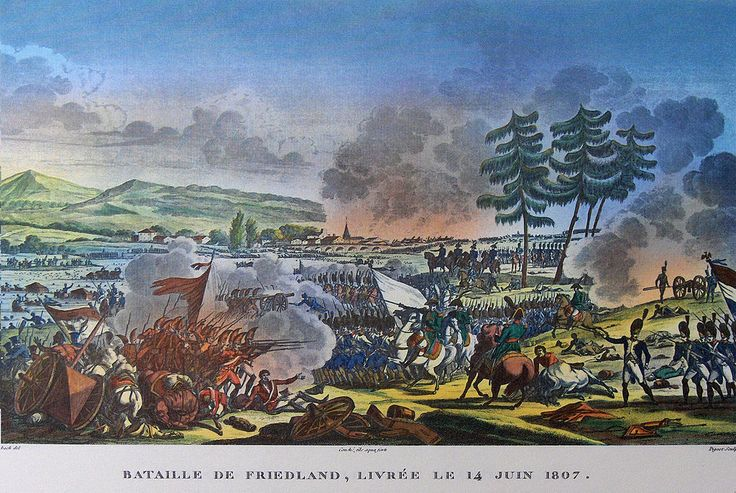"""""""Battle of Friedland"""" colored litho by Antoine Charles Horace Vernet (called Carle Vernet)(1758 - 1836) and Jacques François Swebach (1769-1823)"""