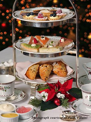 Christmas Tea at Palace Hotel in San Francisco.  Comes with Perrier Jouet Brut Champagne.