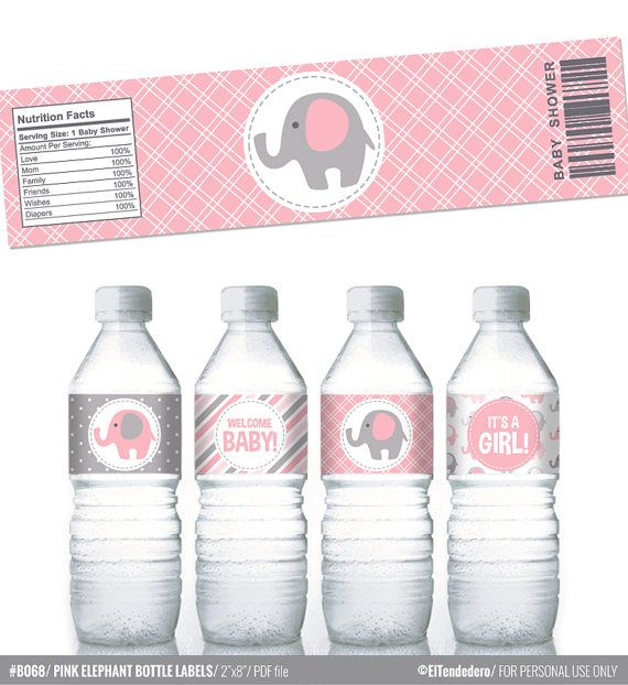 Pink and grey elephants printable water bottle labels, to decor your baby shower - Baby girl decor - Printable PDF file.