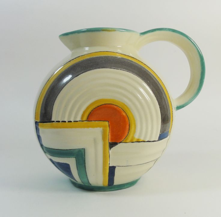 Potterie Kennemerland (Velsen, Holland), art deco pitcher. Design by C.J Gellings, circa 1930