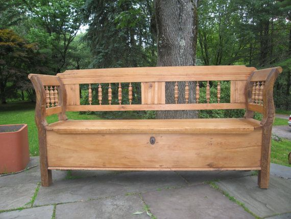 Great Entryway Storage Bench On Etsy ... Want This In White! Antique  Original